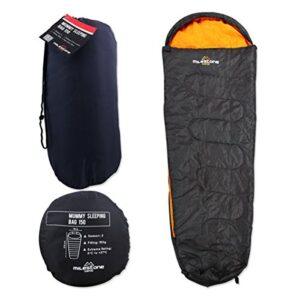 Milestone-Camping-Mummy-Sleeping-Bag-Dark-Grey-Orange-0
