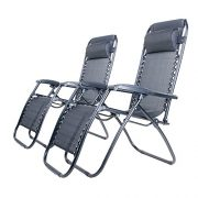 BTM-Set-of-2-Black-Folding-Garden-Patio-Deck-Pool-Recliner-Sun-loungers-Reclining-Chair-Furniture-Camping-Chair-Textoline-Royale-ChairBlack-0