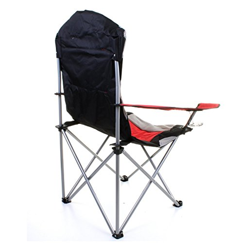 Marko Outdoor Red Grey Heavy Duty Deluxe Padded Folding Steel Camping C