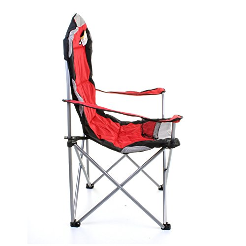 Marko Outdoor Red & Grey Heavy Duty Deluxe Padded Folding steel Camping C