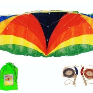 3m-Span-Beach-Parafoil-Power-Stunt-Sport-Kite-Quad-4-Line-And-Alloy-Handles-300cm-x-100cm-0
