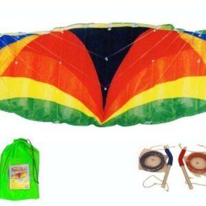3m-Span-Beach-Parafoil-Power-Stunt-Sport-Kite-Quad-4-Line-And-Alloy-Handles-300cm-x-100cm-0