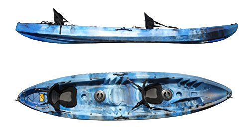 Bluefin tandem 2 1 sit on top fishing kayak with rod for Best tandem fishing kayak