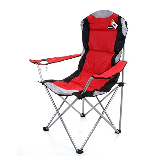 Marko Outdoor Red Amp Grey Heavy Duty Deluxe Padded Folding Steel Camping Chair Festival Directors Fishing Rock And Mountain