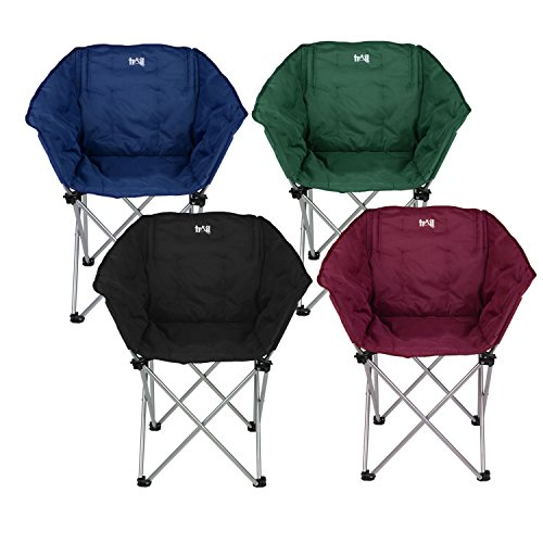 Padded Folding Tub Chair Heavy Duty Camping Festival Seat With Bag By Trail Rock And Mountain