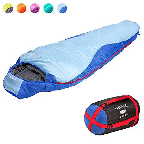 KeenFlex-Mummy-Sleeping-Bag-3-4-Season-Extra-Warm-Lightweight-Compact-Waterproof-Advanced-Heat-Control-System--Ideal-for-Camping-Backpacking-Hiking-Festivals--Compression-Bag-Included-0