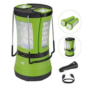 LE-600-lumem-LED-Camping-Lantern-with-2-Multi-Functional-Handy-Flashlight-USB-Rechargeable-Outdoor-Torch-Car-Charger-Included-Water-Resistant-Tent-Light-for-Hiking-Fishing-Emergency-0