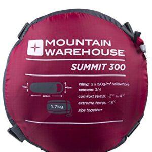 Mountain-Warehouse-Summit-300-Sleeping-Bag--23cm-x-41cm-Comfortable-Warm-Sleep-Sack-Mummy-Shaped-Camping-Bag-2-Way-Zips-For-Adults-Kids-0