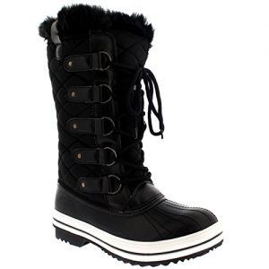 POLAR-Womens-Snow-Boot-Quilted-Tall-Winter-Snow-Waterproof-Warm-Rain-Boot-0