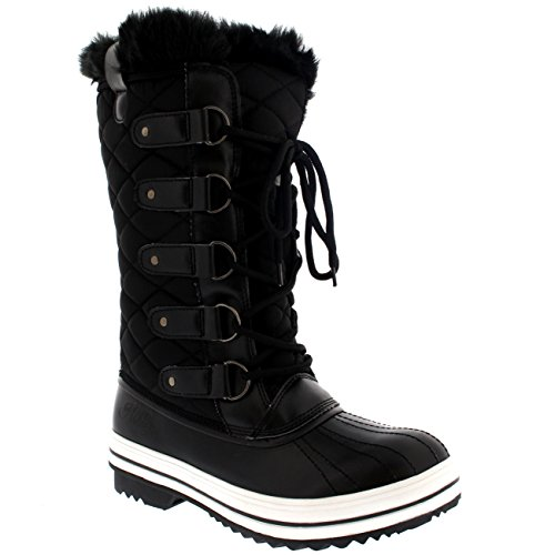 POLAR-Womens-Snow-Boot-Quilted-Tall-Winter-Snow-Waterproof-Warm-Rain-Boot-0