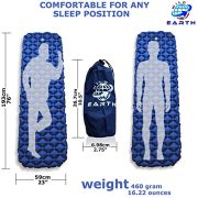 Wild-Earth-Navy-Blue-Lightweight-Single-Inflatable-Camping-Roll-Mat-Sleeping-Pad-Bed-or-Travel-Mattress-Adult-Size-with-Air-Support-for-a-Great-Nights-Sleep-Compact-Strong-and-Easy-to-Inflate-For-Hiki-0-0
