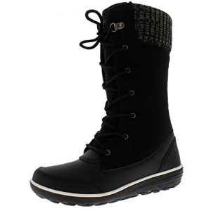 Womens-Knitted-Cardy-Cuff-Rain-Winter-Snow-Duck-Waterproof-Mid-Calf-Boots-0